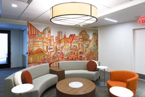 Murals by Miriam Singer seen at PricewaterhouseCoopers LLP, Philadelphia - Interior Mural