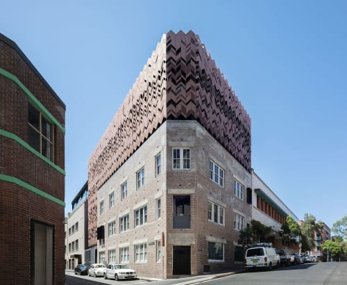 Architecture by Breathe Architecture seen at Paramount House Hotel, Surry Hills - Copper Chevron Screen Crowns