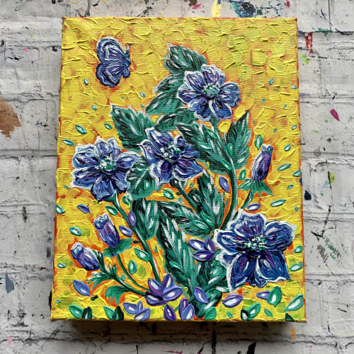 Paintings by Expression By Nada seen at Private Residence, Calgary - Textured and Colorful Floral Painting - Yellow, Purple, Green Flowers