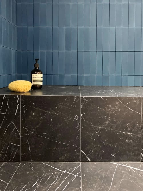 Tiles by Zia Tile seen at Private Residence, Portland - Midnight 2x8 Cement Tile