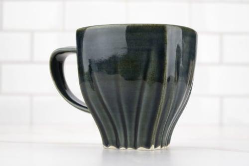 Cups by M.L. Pots - Draped Coffee Cup with Glossy Nightfall Grey Glaze - 006