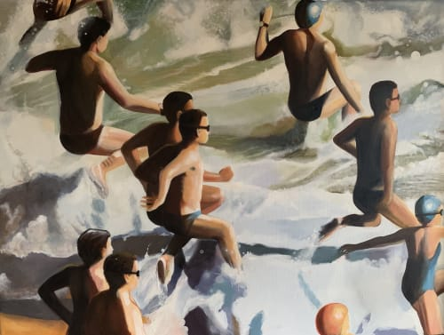 Paintings by Mitchell English seen at Private Residence, Noosa Heads - The Big Swim