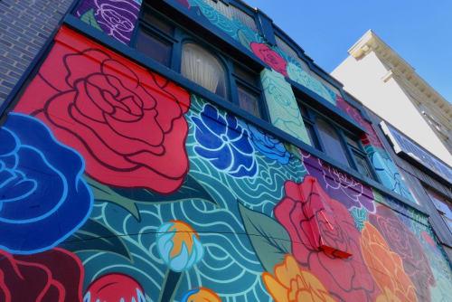 Murals by Jorge-Miguel Rodriguez seen at John Fluevog Shoes, Vancouver - Bloom