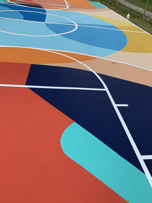 Street Murals by Erin Miller Wray seen at Lomita, Lomita - Harbor Hills Basketball Court Mural