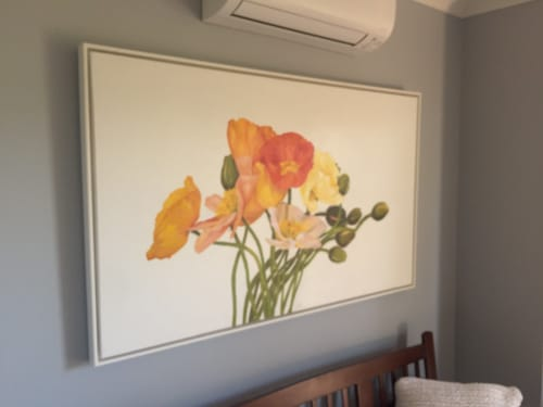 Paintings by Mia Laing Artist seen at Private Residence, Perth - Tall Poppies oil Painting