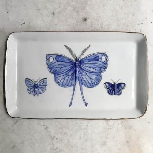 Ceramic Plates by Botticelli Ceramics seen at John Derian Company Inc, New York - Three Butterflies Platter