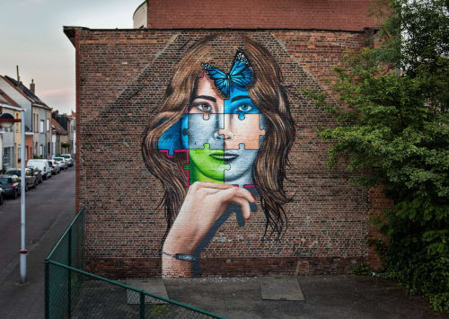 "Street Murals by MrKas seen at Private Residence, Antwerp - ""Freedom"""