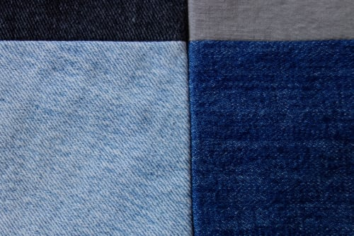Wall Hangings by DaWitt seen at Farbenfabrik, Leipzig - Blue Jeans Quilt | Wallhanging
