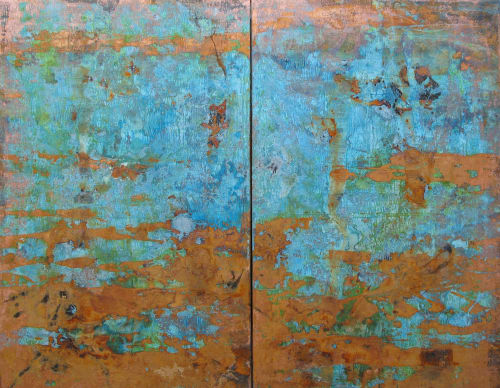 Paintings by Paul Seftel seen at The Plaza, New York - Tropical ocean blu egreen copper metal patina paintings on canvas