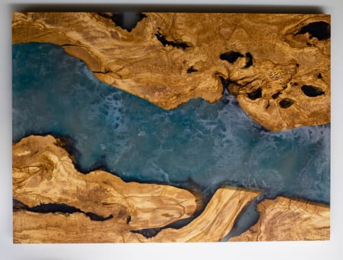 Wall Hangings by Adrian Vogel seen at Private Residence, Kansas City - Olive Wood and Blue Epoxy Wall Hanging