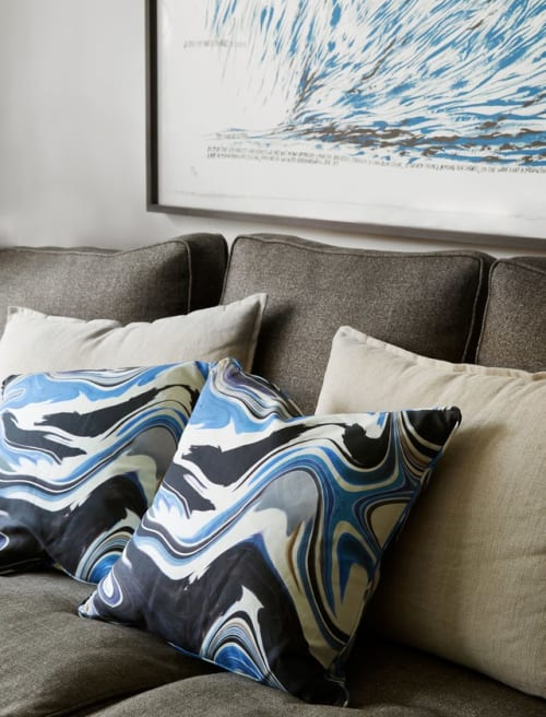Pillows by The Inside seen at Peter Som Residence, New York - Peter Som x The Inside Blue Wave Pillow
