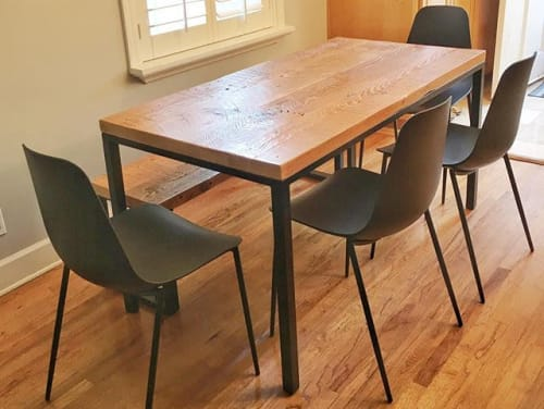 Tables by Parkman Woodworks seen at Private Residence, Redondo Beach - Reclaimed Parsons Style Dining Table