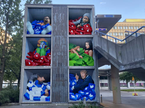 Murals by Chemis seen at Helsinki, Helsinki - Social misery