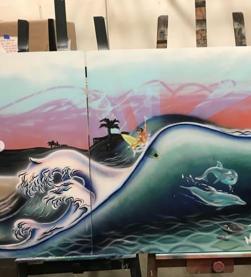 Street Murals by E. Trent Thompson seen at Good Stuff Restaurant, Hermosa Beach - Good Stuff Mural