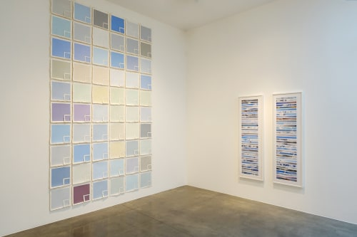 Art & Wall Decor by Kim Abeles seen at Museum of Art and History, Lancaster - Sky Patch (Sixty Days of Los Angeles Sky – View to the East) and Legend for Shared Skies