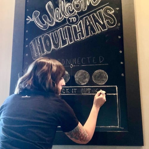 Signage by Meg Wagler seen at Houlihan's, Springfield - Chalkboard Art