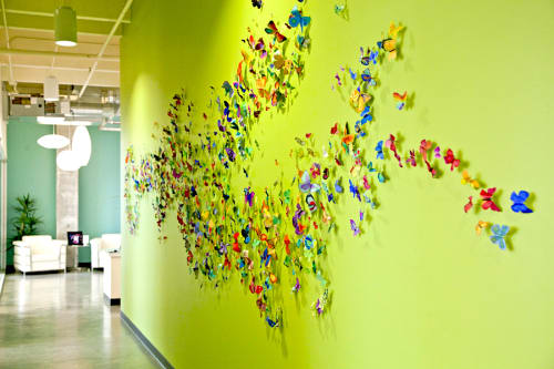 Sculptures by Open Eye Art seen at Ruby Receptionists, Portland - Butterfly Timeline