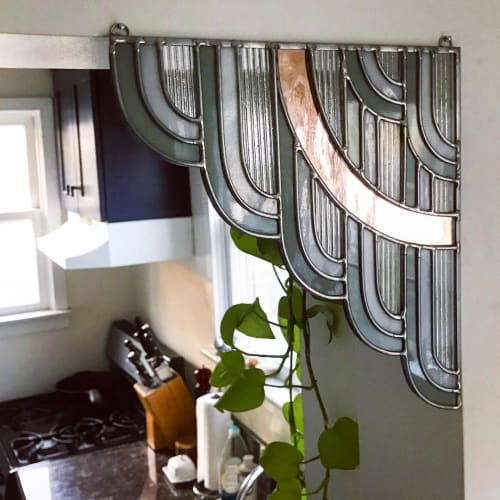 Wall Hangings by Lindsey Kearns seen at Private Residence, Los Angeles - Stained Glass Corner Piece