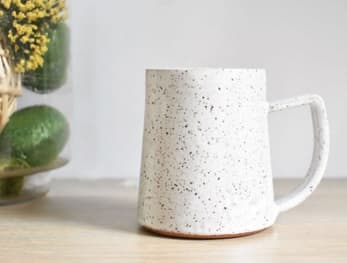 Cups by Kate M Mudd Ceramics seen at Private Residence, Portland - Simple Vanilla Bean Speckled Mug