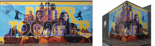 Street Murals by Rahmaan Statik Barnes seen at 2000 Elmwood Ave, Lafayette - Better Together