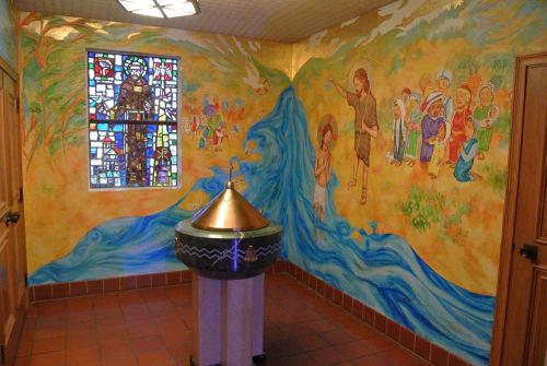 Murals by Stefan Salinas seen at St Stephen's Catholic School, San Francisco - Baptistry Mural
