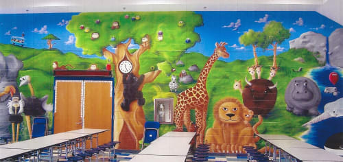 Murals by Bobbi Plentovich Lewis seen at Ecoff Elementary School, Chester - Animals A-Z