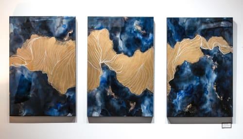 Fjords of Consciousness – Triptych   Paintings by Frankie Hsu - Illyra   Iris-Kaplan Center in New York