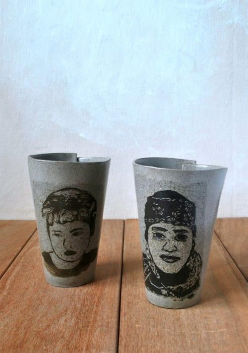 Gray Coffee Portrait Mug | Cups by ShellyClayspot