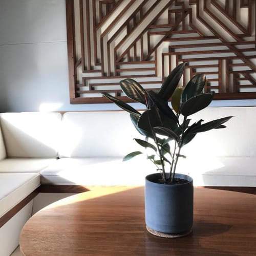 """Vases & Vessels by Settlewell seen at Private Residence, New York - 6"""" Straight Sided Concrete Pot in Dark Gray"""