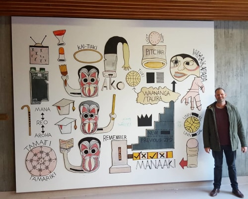 Murals by Michael Hawkins seen at Victoria University of Wellington, Wellington - The Equation