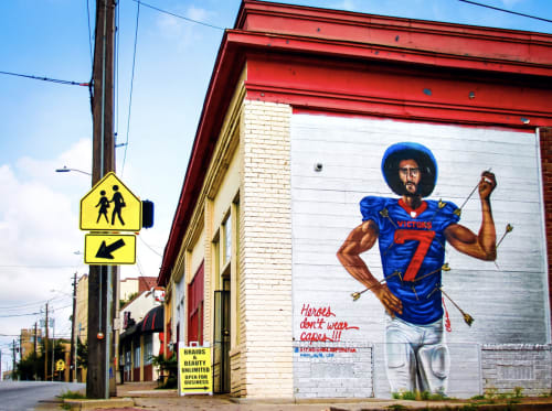 Murals by Occasional Superstar seen at Ralph David Abernathy Boulevard Southwest, Atlanta - St. Kaepernick