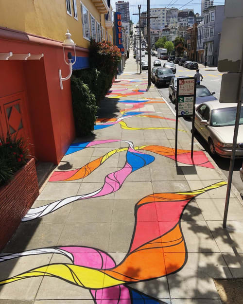Murals by Strider Patton seen at Hotel Del Sol, San Francisco - Sidewalk Mural