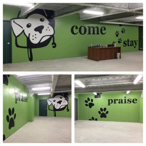 Murals by M-C Lamarre seen at One Smart Dog,LLC, Shelton - One Smart Dog Mural
