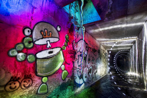 Street Murals by Johnny Botts seen at Storm Drain Tunnels, Oakland - Looost…iin…Oaklaand