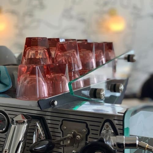 Cups by notNeutral seen at Squibb Coffee & Wine Bar, Grand Rapids - VERO Espresso Glass, Rose