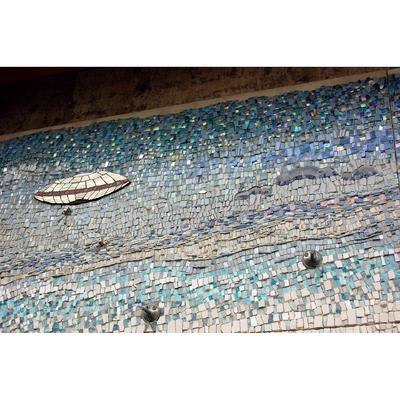 Public Mosaics by Kate Jessup at Saturn Building, Seattle - Invasion of the FoundFacians