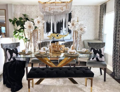 Tables by Meridian Furniture seen at Private Residence, Orlando - Capri Gold Dining Table