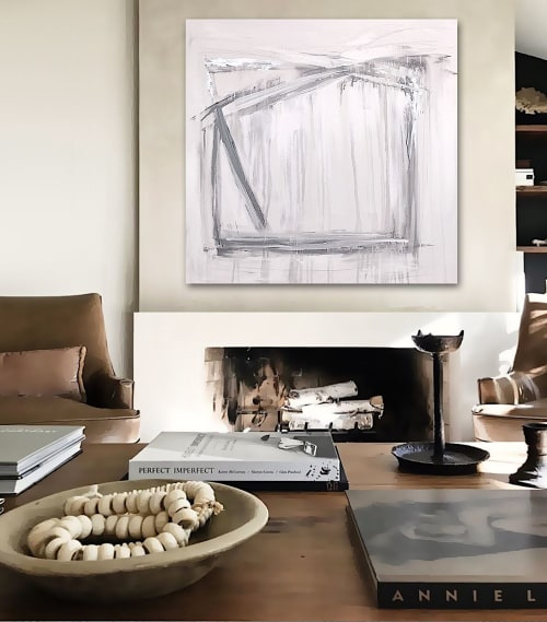 Paintings by Linnea Heide contemporary fine art seen at Private Residence - 'ViKiNG' original abstract painting by Linnea Heide