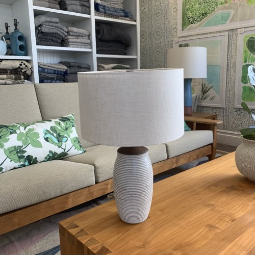 Lamps by Donna de Soto seen at Hollywood at Home, Los Angeles - Cream Striped Table/Desk Lamp