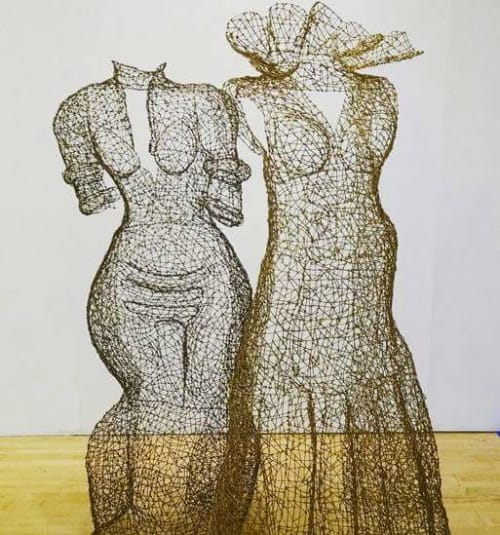 Sculptures by Kristine Mays seen at Richmond Art Center, Richmond - Free Standing Wire Dresses
