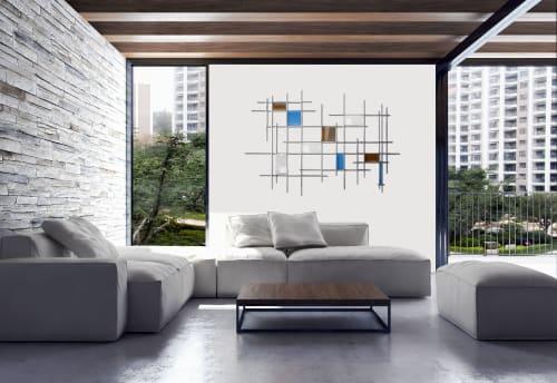 "Sculptures by Karo Studios - ""Gridded"" Glass and Metal Wall Art Sculpture"