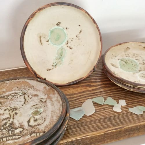 Ceramic Plates by Richard Baxter seen at Old Leigh Studios Gallery, Southend-on-Sea - Estuaryware plates