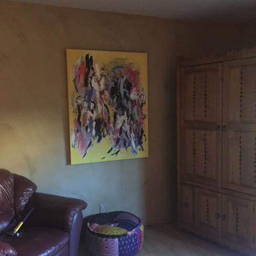 Paintings by Julie Schumer seen at Private Residence, Santa Fe - Embrace of Yellow II