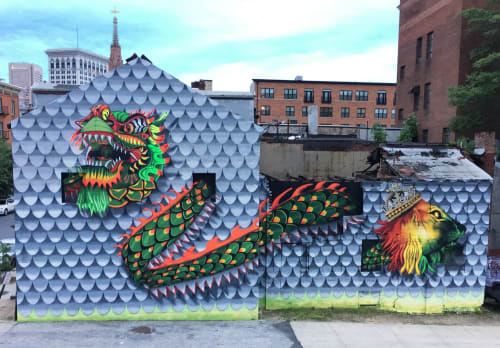 Murals by Jahru seen at 414 Park Ave, Baltimore - Chinese Dragon & Lion of Judah