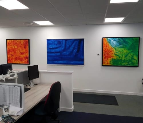 "Paintings by Aubrey Higgin seen at RS Clare, Liverpool - ""Inferno, X-ray and Autumn"" Painting"