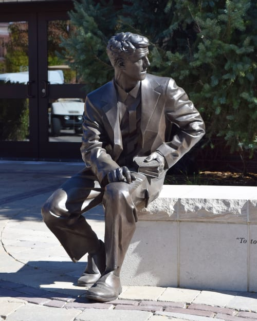 Public Sculptures by Alec M. Smith seen at Lewis University (University Pkwy & University Dr), Romeoville - The Brother