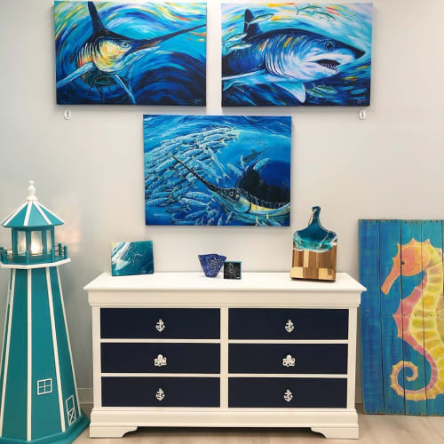 Paintings by Kelly Quinn seen at Sunshine & Sweet Pea's Coastal Boutique, Virginia Beach - Sharks painting