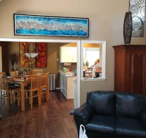 """Paintings by Jan Preston seen at Private Residence, Kansas City - """"The Big City"""" Painting"""