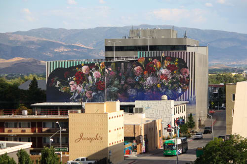 Murals by Erik Burke / OU seen at South Center Street & Pine Street, Reno - Bouquet (Full Circle Isn't A Circle)