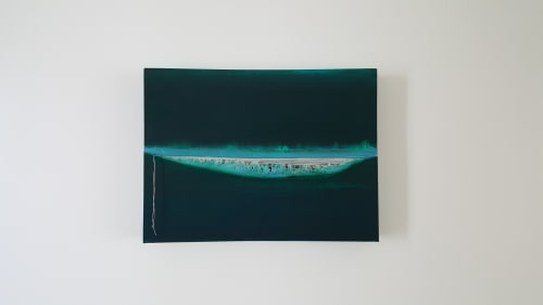 Paintings by Hugo seen at Miami Design District, Miami - l'Horizen - The line where two dimensions meet.